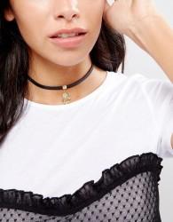 Nylon Hamsa Hand Choker Necklace - Black
