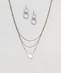 Nylon Multi Layered Necklace And Stone Detail Earring Gift Set - Silver