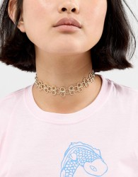 Nylon Multi Linked Choker Necklace - Gold