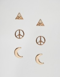 Nylon Pack of 3 Peace Moon and Triangle Stud Earrings - Gold