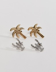 Nylon Palm and Lobster Earring Set - Multi