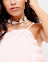 Nylon Statement Gem Fabric Tie Choker Necklace - Gold