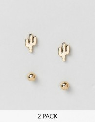 Nylon Stud and Cactus Earring Set - Gold
