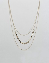 Nylon Triple Layered Necklace With Beaded Layer - Gold