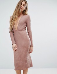NYTT Long Sleeve Plunge Front Dress In Pink - Pink