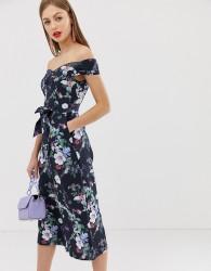 Oasis bardot jumpsuit in floral print - Blue