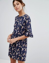 Oasis Bird Print Flute Sleeve Dress - Navy