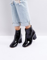 Oasis Block Heeled Ankle Boot - Black