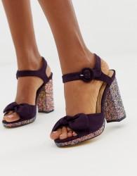 Oasis block heeled sandals with glitter heel in purple - Purple