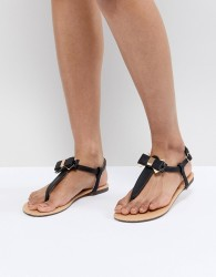 Oasis Bow Toe Post Sandals - Black