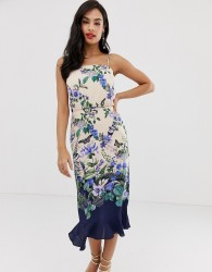 Oasis cami midi dress with square neck in floral print - Multi