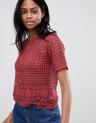 Oasis crochet top in red - Multi