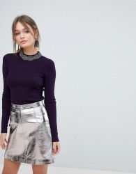 Oasis Embellished Neck Jumper - Purple