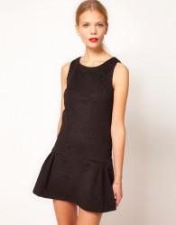 Oasis Embossed Dress With Drop Waist - Black