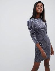 Oasis Embossed Puff Sleeve Dress - Grey