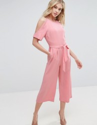 Oasis Exposed Shoulder Tie Waist Jumpsuit - Pink
