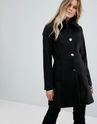 Oasis Faux Fur Collar Swing Coat - Black