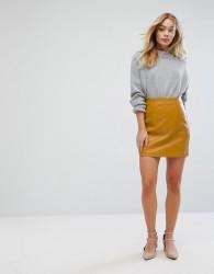 Oasis Faux Leather Mini Skirt - Yellow