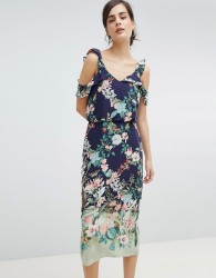 Oasis Fitzwilliam Cold Shoulder Floral Print Midi Dress - Multi