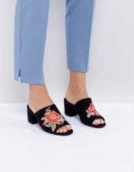 Oasis Floral Embroidered Mule - Gold