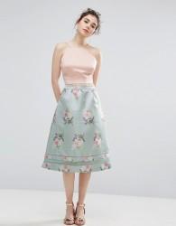 Oasis Floral Jacquard Midi Skater Skirt - Green