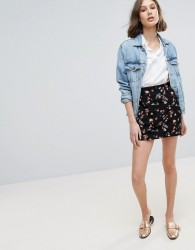 Oasis Floral Jacquard Mini Skirt - Navy