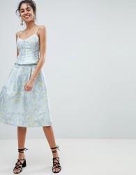 Oasis Floral Print Jacquard Midi Skirt - Multi