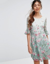 Oasis Floral Printed Lace Flute Sleeve Dress - Multi