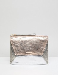 Oasis Fold Over High Shine Clutch - Gold