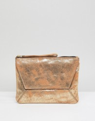 Oasis Fold Over Metallic Clutch - Gold