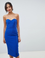 Oasis halter neck tuelle pencil dress with detachable straps - Blue