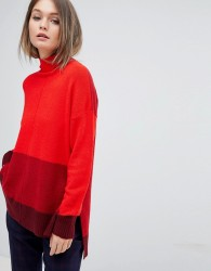 Oasis High Neck Colourblock Jumper - Red