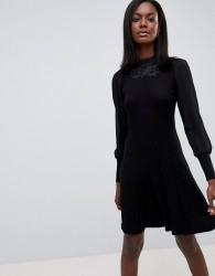 Oasis High Neck Lace Dress - Black