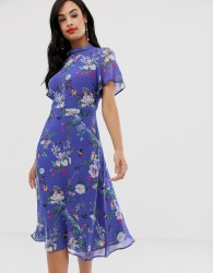 Oasis high neck midi dress in blue floral - Blue