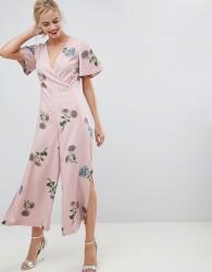 Oasis jumpsuit with split leg in floral print - Multi