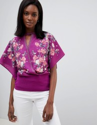 Oasis Kimono Floral Wrap Top - Pink