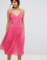 Oasis Lace Hem Pleat Midi Cami Dress - Pink