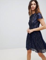 Oasis Lace High Neck Skater Dress - Navy