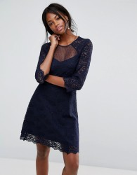 Oasis Lace Sleeve Skater Dress - Blue