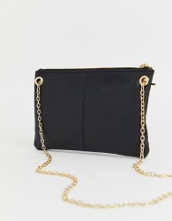 Oasis leather clutch bag with chain - Black