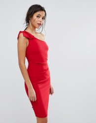 Oasis One Shoulder Mini Dress - Red