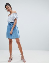 Oasis Paperbag Waist Chambray Mini Skirts - Blue