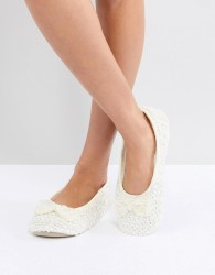 Oasis Pearl Embellished Slipper - White