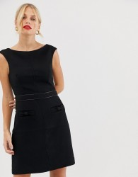 Oasis pencil dress with bow detail in black - Black