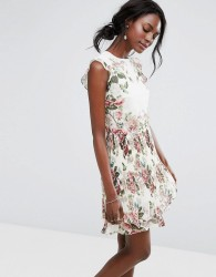 Oasis Royal Worcester Floral Ruffle Detail Pleated Skater Dress - Multi