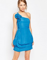 Oasis Ruffle One Shoulder Dress - Blue