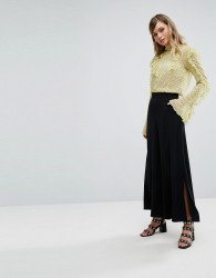 Oasis Split Side Wide Leg Trousers - Black