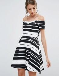 Oasis Textured Stripe Bardot Dress - Multi