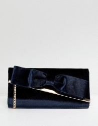 Oasis Velvet Bow Front Clutch Bag - Navy