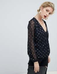 Oasis wrap blouse with foil spot in black - Black